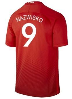 Oryginalna Koszulka Reprezentacji Polski Nike Euro2016-Away Stadium Czerwona Nazwisko-