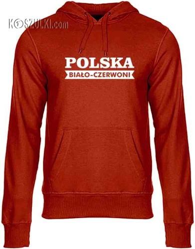 Bluza z kapturem Polska Biało-czerwoni