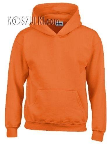 Bluza z kapturem bez nadruku- Pomarańczowa