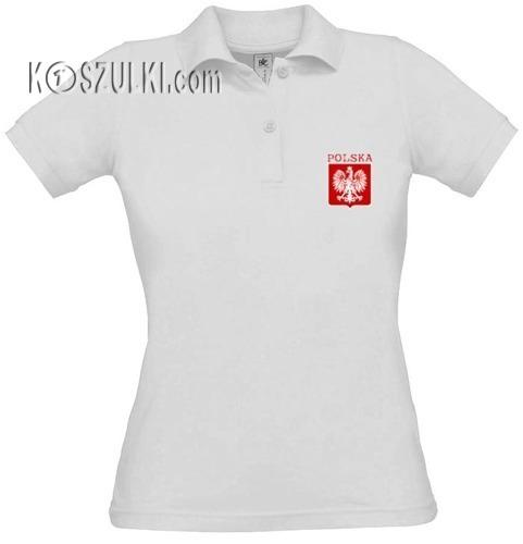 Koszulka damska POLO- małe godło- Biała