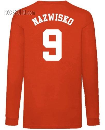 Koszulka dla dziecka z długim rękawem godło+ Nazwisko i numer
