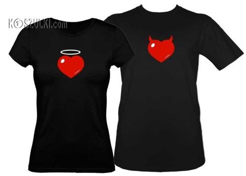 Koszulki dla pary-Zestaw koszulka damska aureolka i t-shirt Serce różki