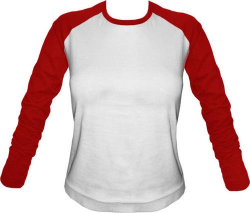 Longsleeve Damski biało-czerwony