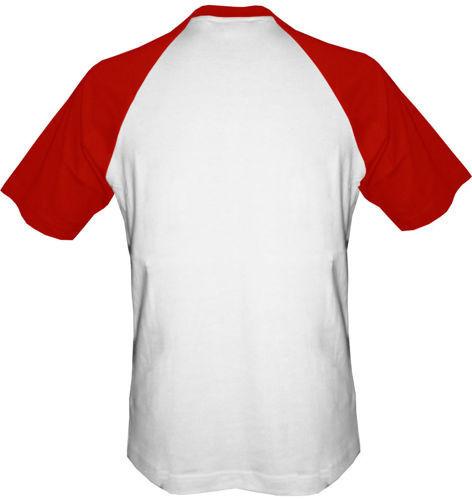 T-shirt Baseball biało-czerwony
