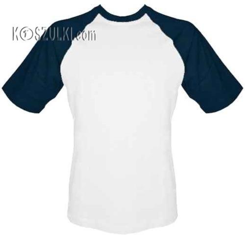 T-shirt Baseball biało-granatowy
