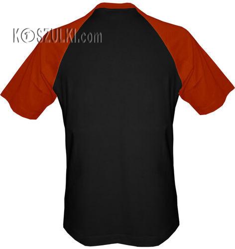 T-shirt Baseball czarny-cegła