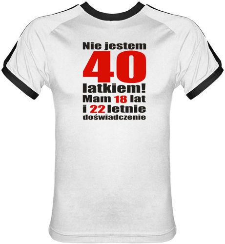 T-shirt Fit Nie jestem 40 latkiem Biały