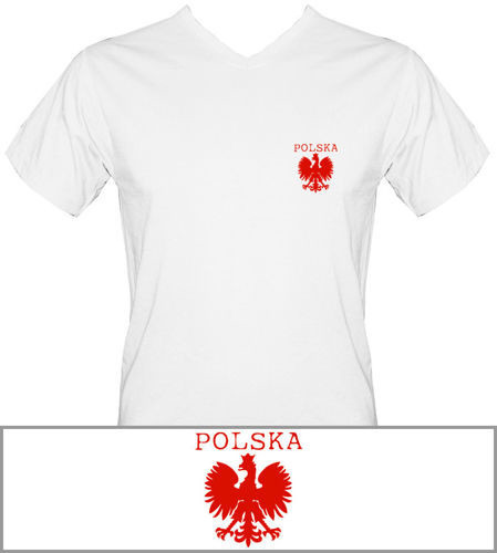 T-shirt v-Neck TV007 Polska mały Orzeł Biały