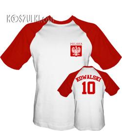 Tshirt Baseball Dziecko  Polska i własne nazwisko oraz numer