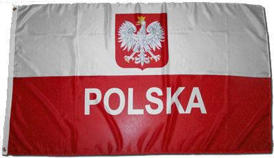 flaga  na maszt Polska,Godło 90x152cm