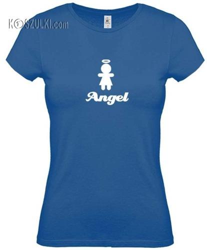 koszulka damska Aniołek- NIEBIESKA
