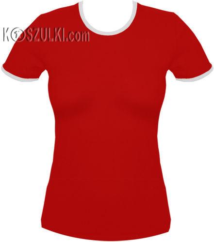 koszulka damska Czerwona z białą lamówką