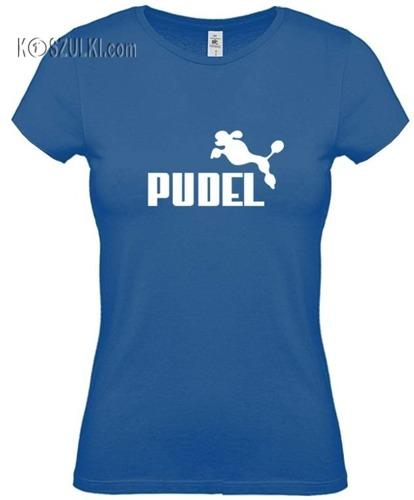 koszulka damska Pudel- NIEBIESKA