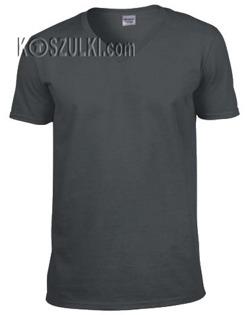 t-shirt bez nadruku w serek Grafitowy