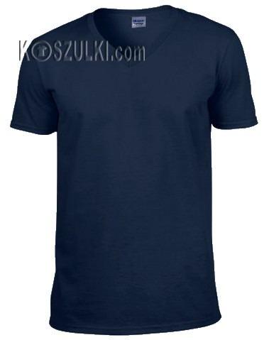 t-shirt bez nadruku w serek- Granatowy
