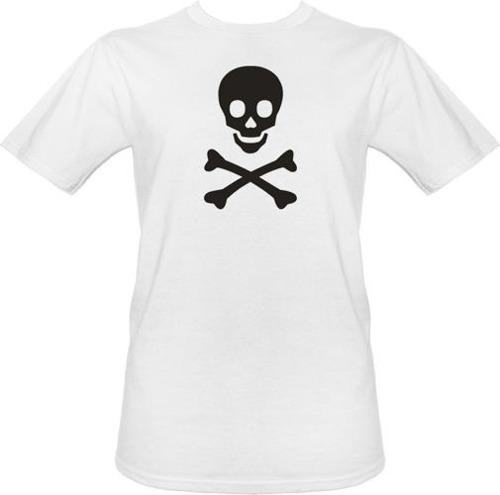 t-shirt biała trupia czaszka